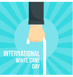 old man white cane day concept background flat vector image