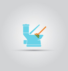 open toilet pan and plunger isolated icon vector image