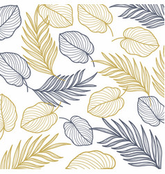 Palm leaves gold line seamless pattern vector