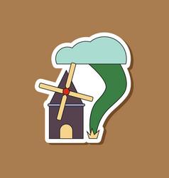 Paper sticker on stylish background tornado mill vector