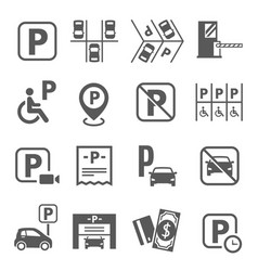 parking area fine fee forbidden sign line and vector image
