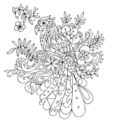 parot for coloring with many elements vector image