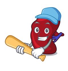 playing baseball spleen character cartoon style vector image