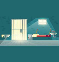 Prison single cell interior cartoon vector