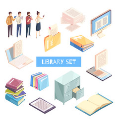 Reading isometric icons set vector