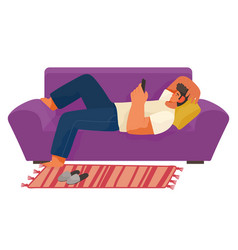 Relax time young man using phone lying on sofa vector