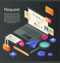 Request concept background isometric style vector