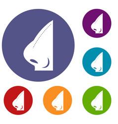 Rhinoplasty of nose icons set vector