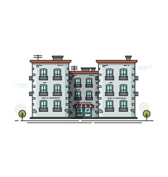 School building front view vector
