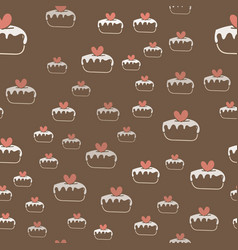seamless pattern with cakes and hearts vector image