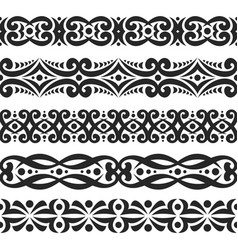 Set of black seamless borders vector
