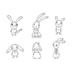 set of cute cartoon bunny vector image