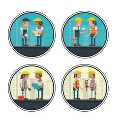 set of geometric workers cartoons vector image