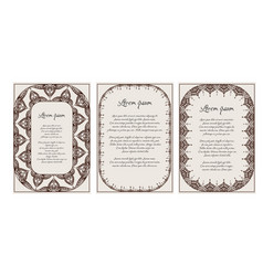 Set of vintage templates with henna frame mehendi vector