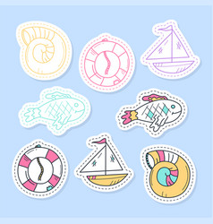 set sea stickers pins patches and handwritten vector image