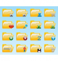 Shiny folder icons set vector