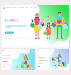 shopping family spending day together in shops vector image