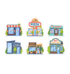 shops and stores set commercial color retail vector image