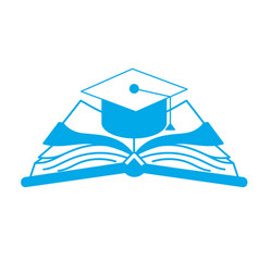 Silhouette cap graduation over open book vector