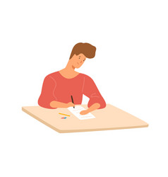 smiling male student sitting at desk writing vector image