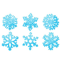 snowflakes set of blue 3d winter symbols vector image