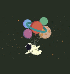 spaceman flying with balloons like a planets vector image