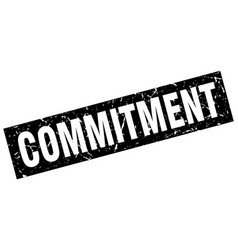 Square grunge black commitment stamp vector