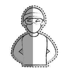 Sticker monochrome blurred of criminal hacker vector