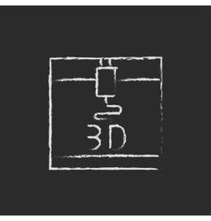 Three D printer drawn in chalk vector image