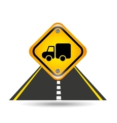 truck yellow road street sign vector image