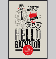 Typographic retro poster for stag party vector