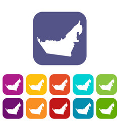 United arab emirates map icons set vector