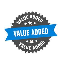 Value added sign value added blue-black circular vector