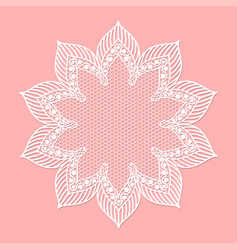 Vintage lacy frame on pink background doily vector