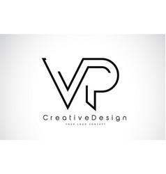 Vp v p letter logo design in black colors vector
