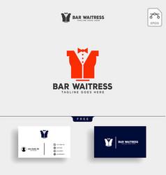 Waitress bar or waiter creative logo template vector