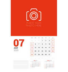 Wall calendar planner template for 2020 year july vector