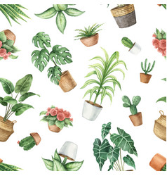 watercolor seamless pattern indoor green vector image