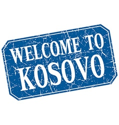 Welcome to Kosovo blue square grunge stamp vector
