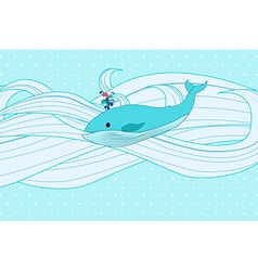 Whale on water vector
