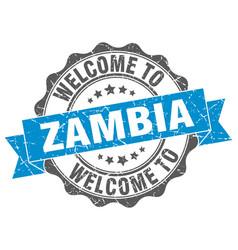 zambia round ribbon seal vector image
