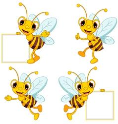 bee cartoon collection vector image