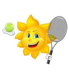 cartoon sun is playing tennis vector image vector image