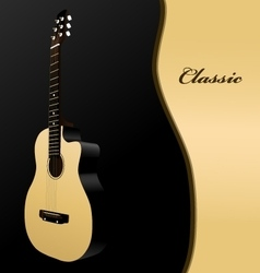 Classical acoustic guitar on black background vector image vector image