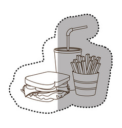 figure sandwich soda and fries french icon vector image vector image