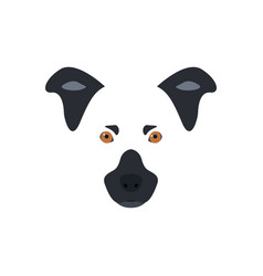 head of a black and white dog with orange eyes vector image
