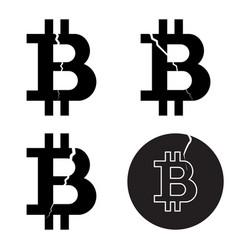 a set of digital bitcoin crypto symbols with a vector image