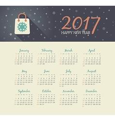 Calendar 2017 year with christmas bag vector