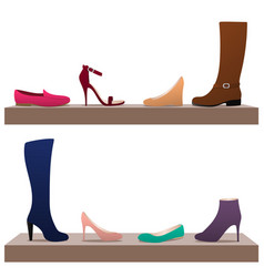 different woman shoes vector image
