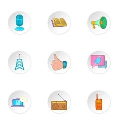 Latest news icons set cartoon style vector image vector image